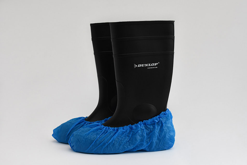 IMG Europe's protective clothing includes foot protection, such as shoe covers